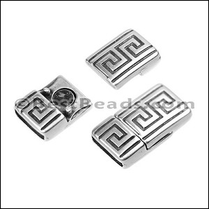 10mm flat BOLD MEANDER magnetic clasp ANT SILVER - per 10 clasps