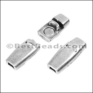 3mm flat PLAIN magnetic clasp ANT SILVER - per 10 clasps