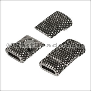 8mm flat DOTS magnetic clasp ANT SILVER - per 10 clasps