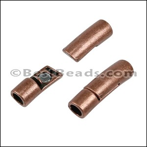 4mm round CURVED TUBE magnetic clasp ANT COPPER - per 10 pieces