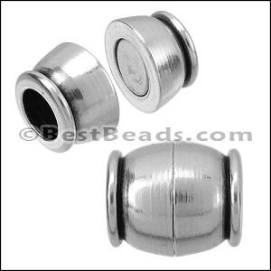 5mm round SMALL BARREL magnetic clasp ANT SILVER - per 10 clasps