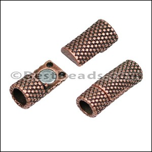 5mm round SMALL DOTS TUBE magnetic clasp ANT COPPER - per 10 clasps