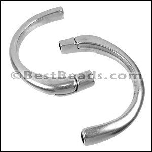 5mm round HALF-CIRCLE magnetic clasp ANT SILVER - per 5 clasps