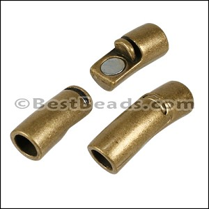 6mm round CURVED TUBE magnetic clasp ANT BRASS - per 10 clasps