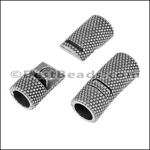 8mm round DOTS magnetic clasp ANT SILVER - per 10 pieces