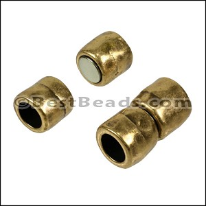 8mm round HAMMERED magnetic clasp ANT BRASS - per 10 clasps