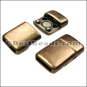10mm flat ROUNDED magnetic clasp ANT BRASS - per 10 clasps