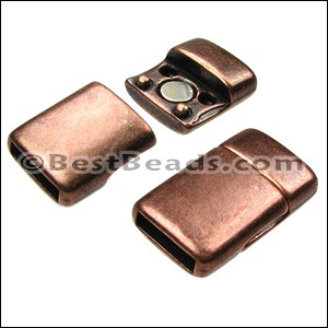 10mm flat ROUNDED magnetic clasp ANT COPPER - per 10 clasps