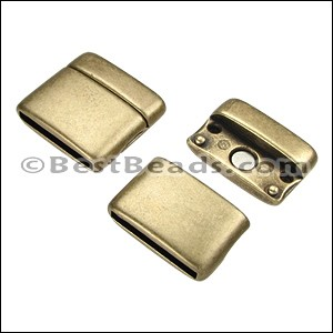 20mm flat ROUNDED magnetic clasp ANT BRASS - per 10 clasps