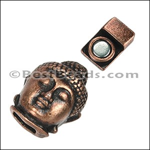 6mm flat BUDDHA magnetic clasp ANT COPPER - per 10 clasps