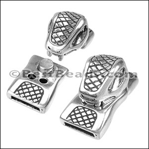 10mm flat SNAKE magnetic clasp ANT SILVER - per 5 clasps