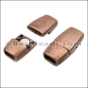 5mm flat TAPERED magnetic clasp ANT COPPER - per 10 clasps