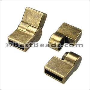 10mm flat HINGE magnetic clasp ANT BRASS - per 10 clasps