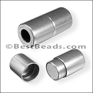 5mm round PLAIN CYLINDER magnetic clasp ANT SILVER - per 10 pieces