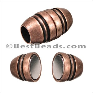 5mm round BARREL magnetic clasp ANT COPPER - per 10 clasps