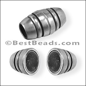 6mm round BARREL magnetic clasp ANT SILVER - per 10 clasps