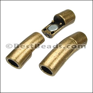 5mm round CURVED TUBE magnetic clasp ANT BRASS - per 10 clasps
