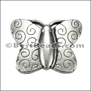 15mm flat BUTTERFLY magnetic clasp ANT SILVER - per 10 clasps