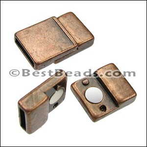 10mm flat TAB magnetic clasp ANT COPPER - per 10 clasps