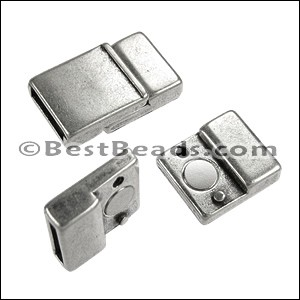 10mm flat TAB magnetic clasp ANT SILVER - per 10 clasps
