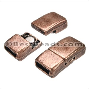 6mm flat RECTANGLE magnetic clasp ANT COPPER - per 10 clasps