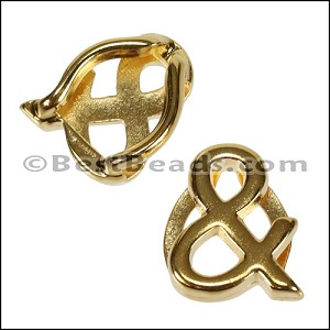 10mm flat ALPHA spacer GOLD - per 10 pieces Letter & (Ampersand)