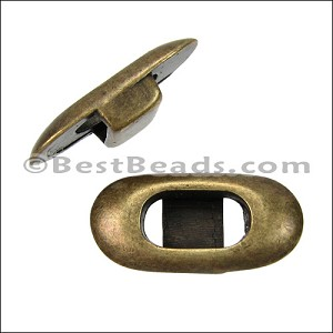 6mm flat OVAL FRAME slider ANT BRASS - per 10 pieces