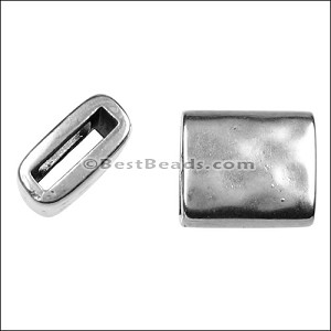 10mm flat HAMMERED RECTANGLE slider ANT SILVER - per 10 pieces