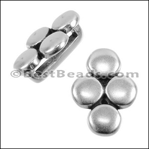 10mm flat 4 DISC spacer ANT SILVER - per 10 pieces