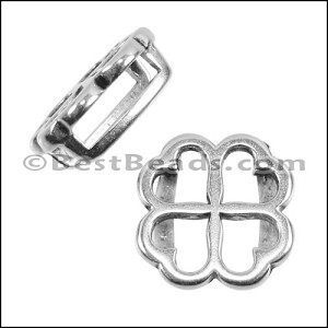 10mm flat CLOVER spacer ANT SILVER - per 10 pieces