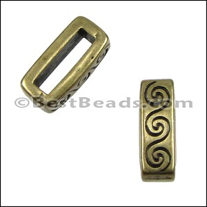 10mm flat WAVE spacer ANT BRASS - per 10 pieces