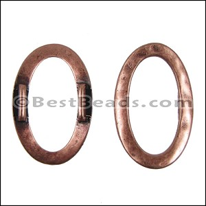 10mm flat HAMMERED OVAL spacer ANT COPPER - per 10 pieces