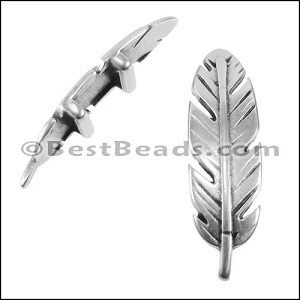 10mm flat FEATHER spacer ANT SILVER - per 10 pieces