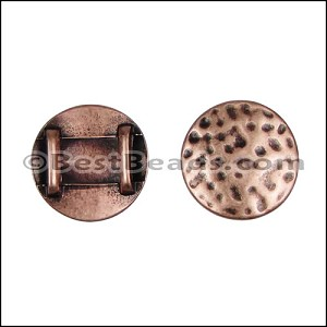 10mm flat HAMMERED CIRCLE spacer ANT COPPER - per 10 pieces