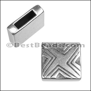 10mm flat X LINES spacer ANT SILVER - per 10 pieces