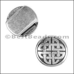 10mm flat ROUND CELTIC KNOT spacer ANT SILVER - per 10 pieces