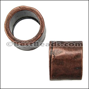 5mm round HAMMERED slider ANT COPPER - per 10 pieces