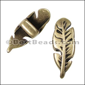 5mm flat FEATHER spacer ANT BRASS - per 10 pieces