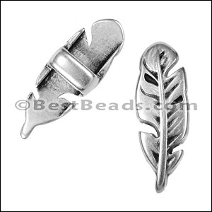 5mm flat FEATHER spacer ANT SILVER - per 10 pieces