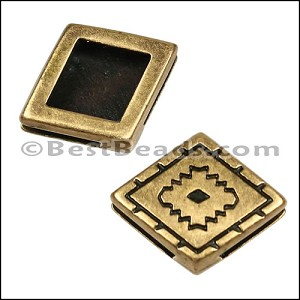 10mm Flat SOUTHWEST DIAMOND slider ANT BRASS - per 10 pieces