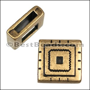 10mm Flat SOUTHWEST SQUARE slider ANT BRASS - per 10 pieces