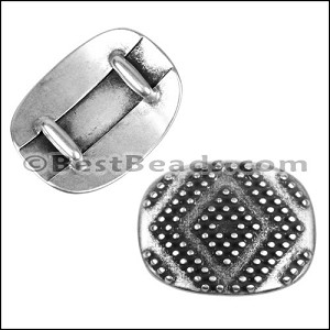 10mm Flat LARGE GEOMETRIC DOTS slider ANT SILVER - per 10 pieces