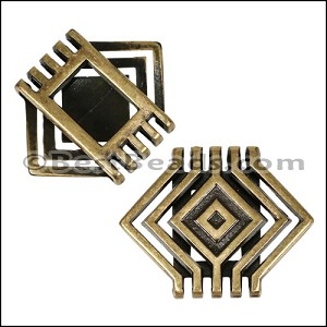20mm Flat SQUARE CASCADE slider ANT BRASS - per 10 pieces
