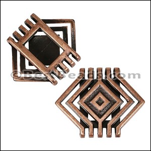 20mm Flat SQUARE CASCADE slider ANT COPPER - per 10 pieces