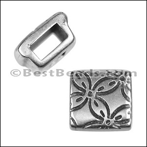 5mm Flat FLORAL SQUARE slider ANT SILVER - per 10 pieces