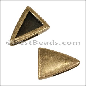 10mm Flat PLAIN TRIANGLE slider ANT BRASS - per 10 pieces
