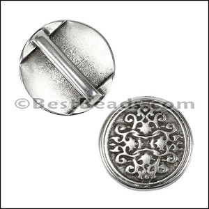 15mm Flat DAMASK slider ANT SILVER - per 10 pieces