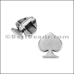 Tiny Flat SPADE slider ANT SILVER - per 10 pieces