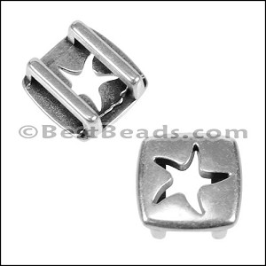 10mm flat SQUARE STARFISH slider ANT SILVER - per 10 pieces