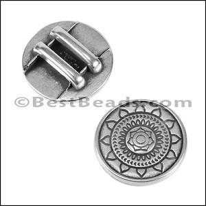 10mm flat SUN MANDALA slider ANT SILVER - per 10 pieces